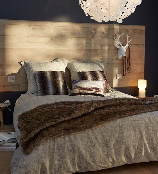 Tête de lit lambris bois brut / Mur / Aménagement intérieur / Cahier ...